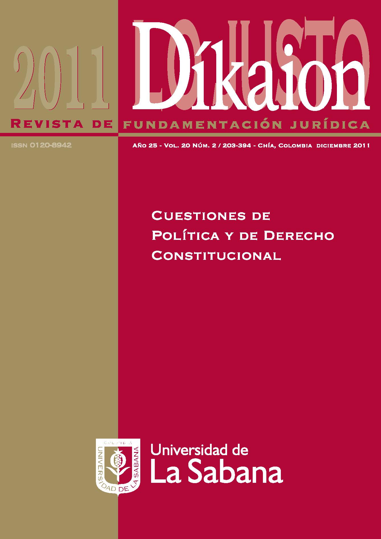 Ver Vol. 20 Núm. 2 (2011): Cuestiones de Política y de Derecho Constitucional